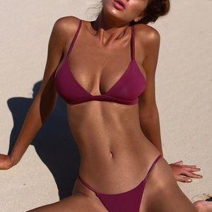 Other - Purple Red  One Piece Bikini Top Bottom Set